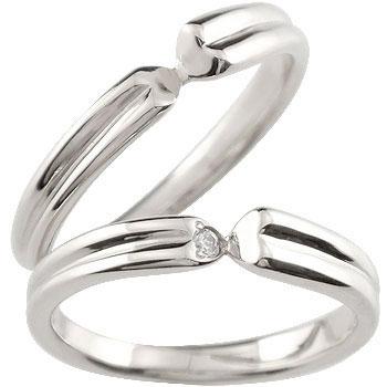 [送料無料]ペアリング 結婚指輪 マリッジリング ホワイトゴールドk18 ダイヤモンド 一粒ダイヤモンド ハート ハンドメイド 2本セット18k 18金【楽ギフ_包装】0824カード分割【コンビニ受取対応商品】:かざり屋