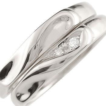 [送料無料]ペアリング 結婚指輪 マリッジリング ホワイトゴールドk18 ダイヤモンド ハート ハンドメイド 2本セット18k 18金【楽ギフ_包装】0824カード分割【コンビニ受取対応商品】:かざり屋