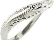 V字ペアリング結婚指輪マリッジリングホワイトゴールドk18ダイヤモンド羽フェザーハンドメイド2本セット【送料無料】