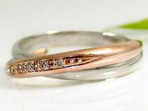[送料無料]ペアリングプラチナ結婚指輪マリッジリングダイヤモンドピンクゴールドコンビハンドメイド2本セット【_包装】【RCP】05P02Mar14