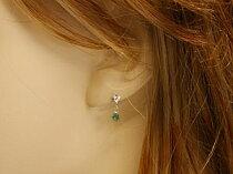 エメラルドピアスダイヤモンドピアスホワイトゴールドk18ダイヤモンド0.08ctk18wg