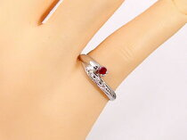 ピンキーリングルビーダイヤモンドリングプラチナリング指輪ダイヤ