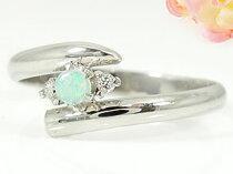 ピンキーリングオパールリングダイヤモンドホワイトゴールドk18指輪ダイヤ