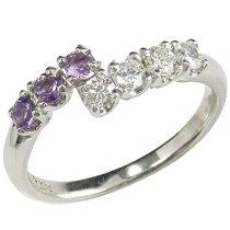 アメジストリングダイヤモンドリングホワイトゴールドk18指輪k18wgピンキーリングダイヤカラーストーン2月誕生石
