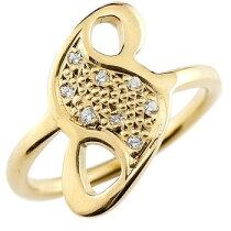 [送料無料]数字リングナンバーリングイエローゴールドk1818金18k指輪ダイヤモンド8数字レディース【_包装】0824カード分割