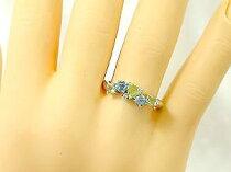 ハートリングペリドット8月の誕生石ブルートパーズダイヤモンドホワイトゴールドk18指輪k18wgピンキーリングダイヤ