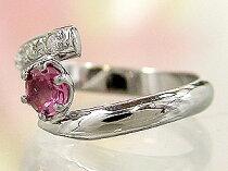 【送料無料】ピンクトルマリンダイヤモンドリングホワイトゴールドk18ピンキーリング指輪10月誕生石