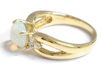 【送料無料】オパールリングダイヤモンドイエローゴールドk18一粒石指輪10月誕生石【_包装】【after1207】