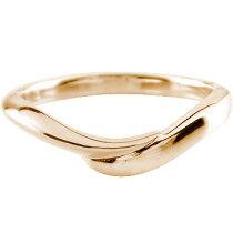 [送料無料]ピンクゴールドk18リング指輪ピンキーリングシンプルV字地金リング宝石なし【_包装】【RCP】05P04Aug13