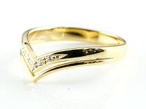[送料無料]2連V字ダイヤモンドリング指輪イエローゴールドk18ピンキーリングダイヤモンドリングシンプル18金18kレディース【_包装】0824カード分割