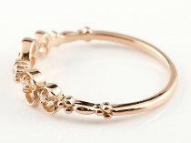 [送料無料]ダイヤモンドリングダイヤリボンりぼんリングシンプルピンキーリング指輪ピンクゴールドk18華奢リング重ね付け指輪細め細身18金アンティーク重ねづけリングレディース【_包装】0824カード分割