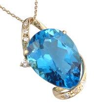 ブルートパーズペンダントネックレスダイヤモンドK18イエローゴールド11月の誕生石ブルートパーズ
