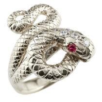 [送料無料]蛇リングプラチナダイヤモンドルビースネーク指輪レディースメンズ【_包装】【RCP】