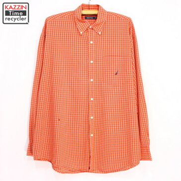 古着 NAUTICA ボタンダウンチェックシャツ★XLサイズ オレンジ クリスマス プレゼント ギフト
