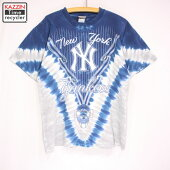 90sMLBニューヨーク・ヤンキースタイダイTシャツ古着★XLサイズブルーグレー