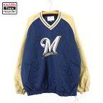 2000s MLB ミルウォーキー・ブルワーズ プルオーバー ジャケット 古着 ★ XLサイズ ネイビー ゴールド