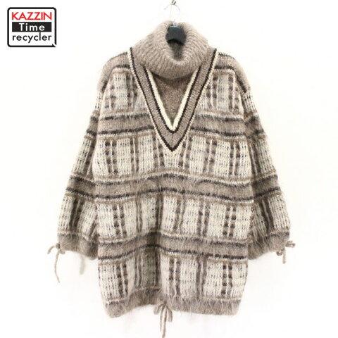 70s イタリア製 a norma della legge レディース モヘアウール デザイン ニット セーター 古着 ★ XLサイズ