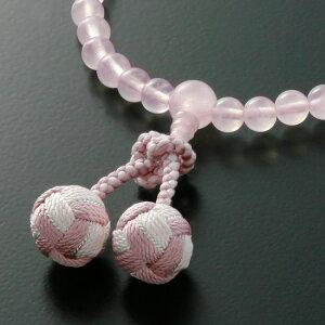 数珠・念珠『花飾り梵天房ローズクォーツ紅水晶(女性用)』【数珠】