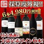 【送料無料】第90弾!採算度外視の謝恩企画!京橋ワイン厳選!特大感謝の大満足赤ワイン6本セット!!|還暦祝い ワインセット