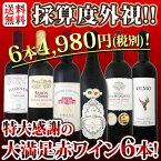 【送料無料】第91弾!採算度外視の謝恩企画!京橋ワイン厳選!特大感謝の大満足赤ワイン6本セット!!|還暦祝い ワインセット