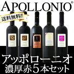 【送料無料】大人気イタリアン【アッポローニオ】濃厚赤5本セット
