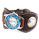 腕時計 メンズ 革 レザー KC,s kcs ケーシーズ ケイシイズ: レザーブレスウォッチ エスパニョーラ フリーカット ターコイズ【ブラウン】