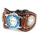 カービング 腕時計 メンズ 革 レザー KC,s kcs ケーシーズ ケイシイズ: レザーブレスウォッチ エスパニョーラ クラフトDX ターコイズ【ブラウン】