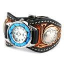 カービング 腕時計 メンズ 革 レザー KC,s kcs ケーシーズ ケイシイズ: レザーブレスウォッチ エスパニョーラ クラフトDX ターコイズ【ブラック】