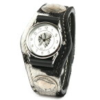 腕時計 メンズ 革 レザー KC,s kcs ケーシーズ ケイシイズ: レザーブレスウォッチ 3コンチョ アンボーン【ブラック】