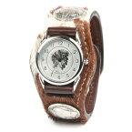 腕時計 メンズ 革 レザー KC,s kcs ケーシーズ ケイシイズ: レザーブレスウォッチ 3コンチョ・アンボーン【ブラウン】