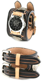 KC,s(ケイシイズ)腕時計:レザーブレスウォッチハンドスタンプWコンチョ【ブラック】