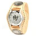 腕時計 メンズ 革 レザー KC,s kcs ケーシーズ ケイシイズ: レザーブレスウォッチ 3コンチョ フリーカット【タン】