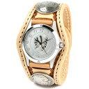腕時計 メンズ 革 レザー KC,s kcs ケーシーズ ケイシイズ: レザーブレスウォッチ 3コンチョ クラフト【タン】