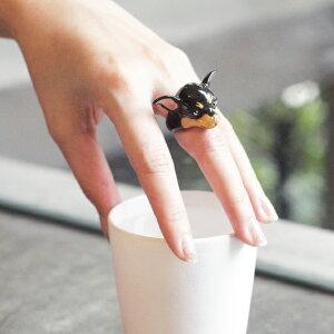 デザイナーによるハンドメイドのキュートなアニマルリングチワワ指輪/リングリング アニマル と...