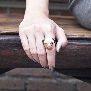 リング アニマル とっても キュート な パグ 犬 の指輪 モチーフ ジュエリー アクセサリー…