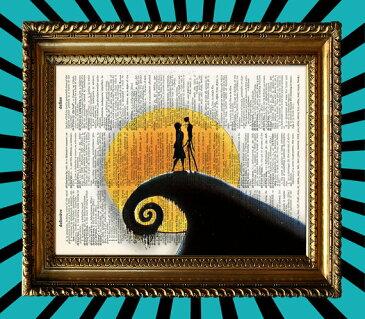 インテリア アート アートパネル アートポスター 壁掛け 絵画 アメコミ 額 フレーム 壁 リビング 現代アート A4 ビンテージ辞書にアメコミ・ハリウッドスターのイラストをプリントしたアート ナイトメア604