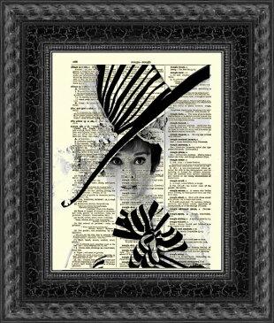 インテリア アート アートパネル アートポスター 壁掛け 絵画 アメコミ 額 フレーム 壁 リビング 現代アート A4 ビンテージ辞書にハリウッドスターのイラストをプリントしたアート オードリーヘップバーン3
