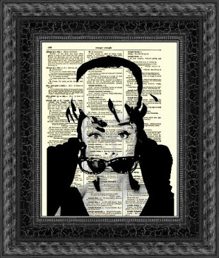 インテリア アート アートパネル アートポスター 壁掛け 絵画 アメコミ 額 フレーム 壁 リビング 現代アート A4 ビンテージ辞書にハリウッドスターのイラストをプリントしたアート オードリーヘップバーン11