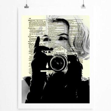 インテリア アート アートパネル アートポスター 壁掛け 絵画 アメコミ 額 フレーム 壁 リビング 現代アート A4 ビンテージ辞書にハリウッドスターのイラストをプリントしたアート マリリンモンロー5