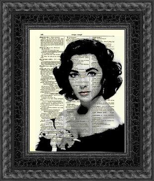 インテリア アート アートパネル アートポスター 壁掛け 絵画 アメコミ 額 フレーム 壁 リビング 現代アート A4 ビンテージ辞書にハリウッドスターのイラストをプリントしたアート エリザベステイラー6
