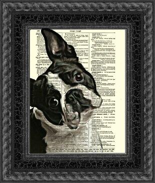 インテリア アート アートパネル アートポスター 壁掛け 絵画 アメコミ 額 フレーム 壁 リビング 現代アート A4 ビンテージ辞書にハリウッドスターのイラストをプリントしたアート ボストンテリア8