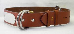 瀬川 SEGAWA レザー 皮 革 大型犬用 ドイツナメシ 一枚皮 カラー 平首輪 幅42mm×長さ710mm #1350ブラウン