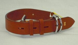 瀬川 SEGAWA レザー 皮 革 大型犬用 ドイツナメシ 革 一枚皮 カラー 平首輪 幅36mm×長さ620mm #1049 ブラウン 茶
