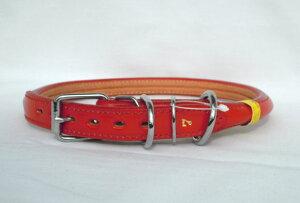 瀬川 SEGAWA レザー 皮 革 なめし革 大型犬用 カラー 半丸首輪 7号 全長650mm #1318 レッド 赤