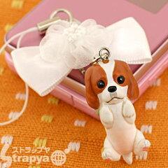 mini tamミニタム携帯ストラップ(キャバリア/リボン:ホワイト)TS-1901[スマホケースのHamee]