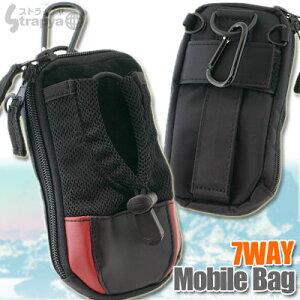 [一部予約]縦・横・斜め完全マルチ装着!本革使用★7WAYモバイルバッグ[ブラックは4月下旬~5...