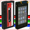 [ケースがスタンドになる!]iTape Deck カセットテープ型iPhone 4シリコンケース(ブラックxレ...