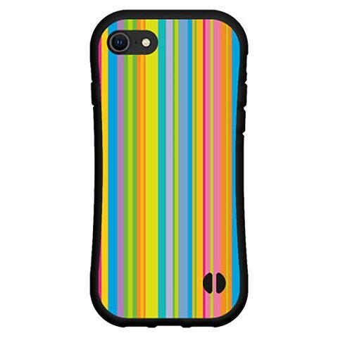 3D保護ガラスフィルム付 iPhone 8アイフォン エイトdocomo au SoftBank落としても割れにくい驚きの衝撃吸収力豊富なオリジナルデザイン耐衝撃 ハイブリッドケースカラフルストライプ type001