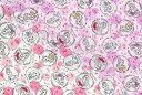 毛糸と手芸のみいみで買える「プリンセス リップル生地白地 ピンク【夏用/マスク/浴衣/甚平/薄地/女の子/キャラクター地】」の画像です。価格は143円になります。