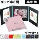 写真台紙 【3面2Lサイズ はな 中枠黒色】自分で写真を貼っ...